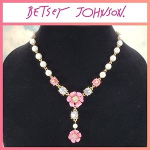 Betsey Johnson Flower & Pearl Necklace
